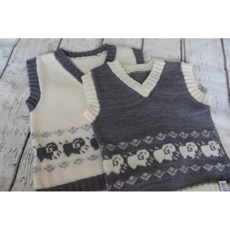 Baby Alpaca Merino Wool Knitted Baby Toddler Kids Vest Waistcoat